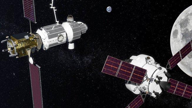 Umělecká představa stanice Deep Space Gateway u Měsíce