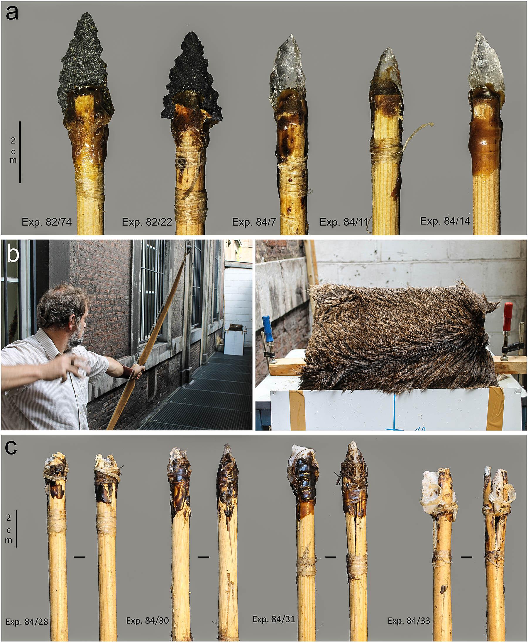 a) šípy před experimentem, b) střelba z luku a terč, c) poškození šípů po střelbě
