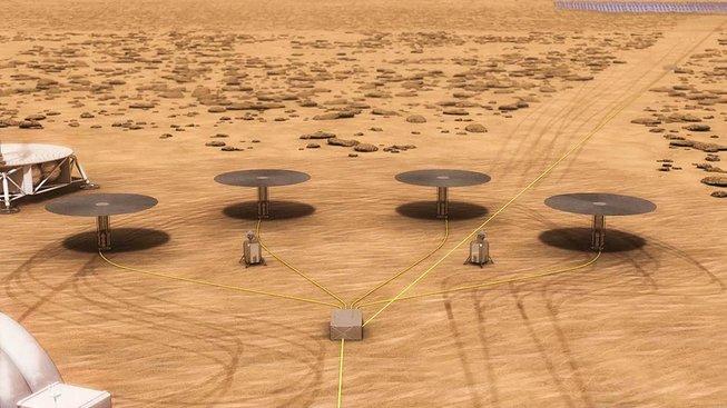 Tak nějak by dle představy odborníků NASA mohly vypadat modulární reaktory na Marsu