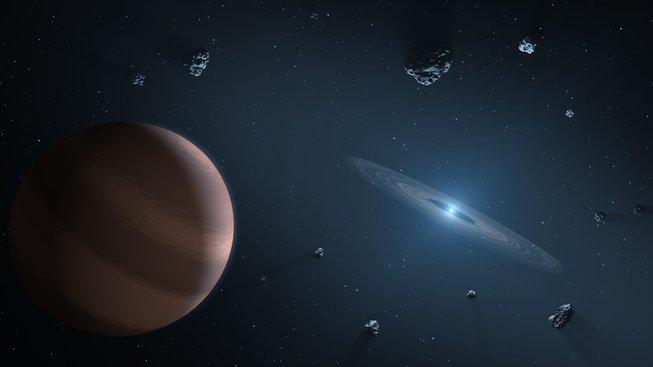 Ilustrace exoplanety obíhající kolem bílého trpaslíka