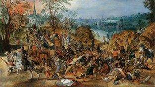 Malba Sebastiaena Vrancxe zobrazující vesničany napadající rabující vojáky. Přestože měla 30letá válka zdrcující dopad na evropskou populaci, její početnost se rychle vrátila na původní úroveň