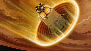 Umělecká představa nafukovacího tepelného štítu u Marsu