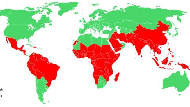 Riziko malárie po světě