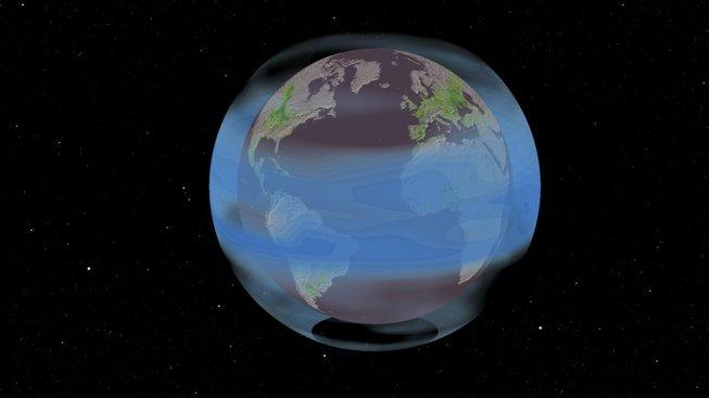 Sopečné částice obepínající celý obvod Země