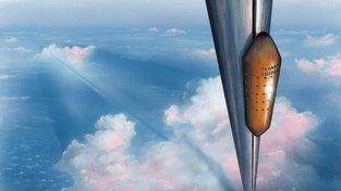 Umělecké ztvárnění představy výtahu do vesmíru