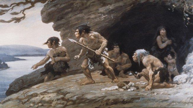 Umělecká představa neandrtálců z díla Charlese R. Knighta
