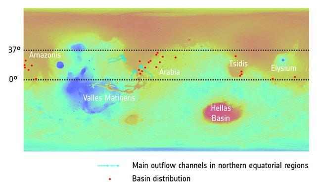Někdejší oceán na Marsu a analyzované krátery