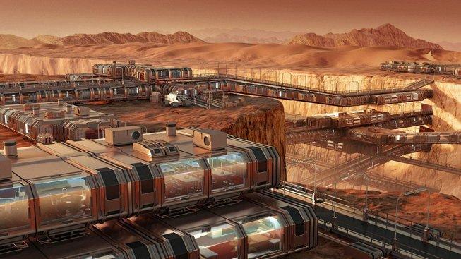 Umělecká představa kolonie na Marsu
