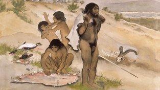 Neandrtálská rodina na umělecké ilustraci