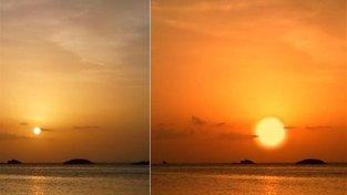 Teegardenova hvězda (vpravo) ve srovnání se Sluncem