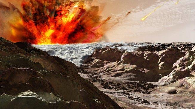 Kresba dopadu gigantického asteroidu na Mars