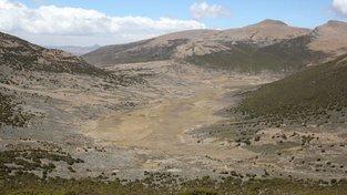 Náhorní planina Fincha Habera, místo objevu prastarých lidských sídel. Kdysi ji pokrývaly ledovce