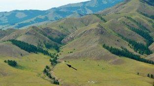 Šipka označuje místo vykopávek v oblasti Tolbor-16 na severu Mongolska