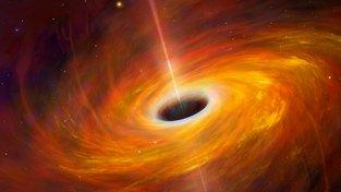 Ilustrace obří černé díry, jejíž gravitační pole je v jisté oblasti časoprostoru tak silné, že žádný objekt včetně světla nemůže oblast opustit