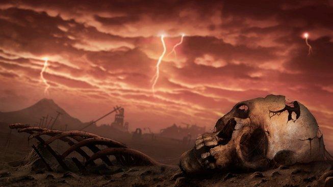Ilustrace apokalyptického světa po jaderné válce