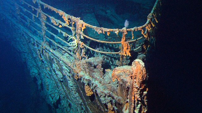 Příď Titaniku na dně Atlantiku