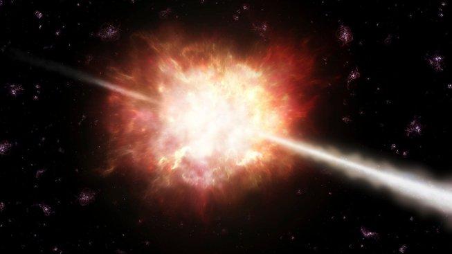 Umělecké ztvárnění gama záblesku