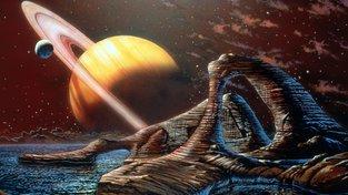 Umělecké zobrazení Saturnu - fiktivní pohled z jeho největšího měsíce Titanu