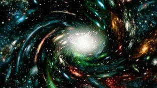 Počítačová grafika zobrazující hypotetický model expandujícího vesmíru. Spirální galaxie, hvězdy, vesmírný prach…