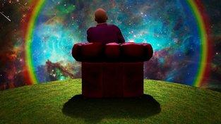 Surrealistický obrázek muže pozorujícího vesmír