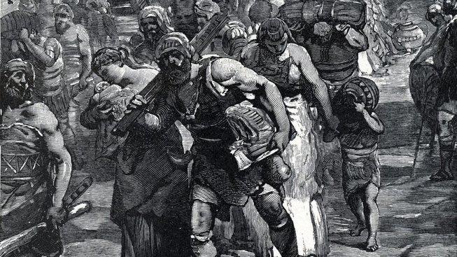 Migranti na cestě do Říma. Římané jim za císaře Marka Aurelia Proba (ve třetím století) dávali povolení k pobytu i půdu za to, že odslouží několik let v jejich armádě