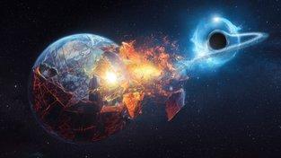 Černá díra trhá a polyká Zemi