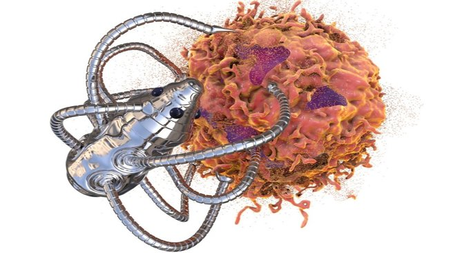 Nanorobot likviduje rakovinovou buňku