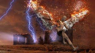 Padlý anděl v surrealistickém pojetí