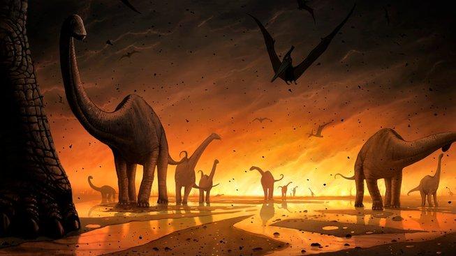 Dinosauři prchající před vybuchující sopkou