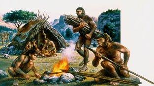 Homo erectus vyrábí oštěp