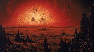 Červený obr Betelgeuse nad fiktivní krajinou