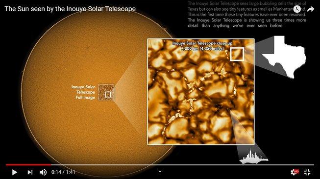 Detail povrchu Slunce z teleskopu Inouye