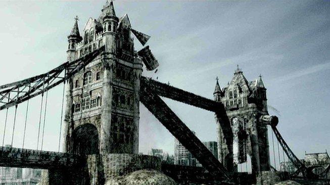 Rozpadající se Tower Bridge v době po lidech (nikoli po brexitu)