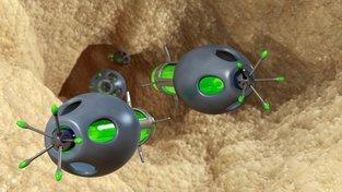 Počítačový obrázek zobrazující nanoroboty v tepně zúžené plakem