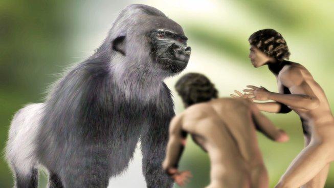 Kresba fiktivního setkání gigantopitéka s lidmi