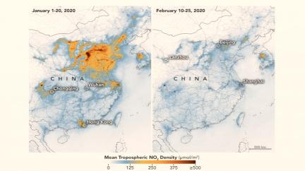 Satelity odhalily, jak koronavirus změnil Čínu
