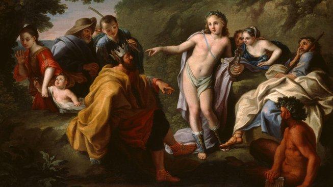 Král Midás s bohem Apollónem, který ho pokládal za hlupáka a podle báje mu nechal narůst oslí uši