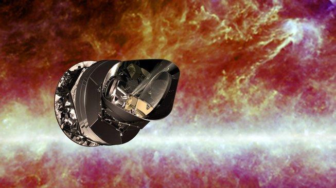 Planckův teleskop. Hodnoty reliktního záření, které měří, umožňují stanovit rychlost rozpínání vesmíru