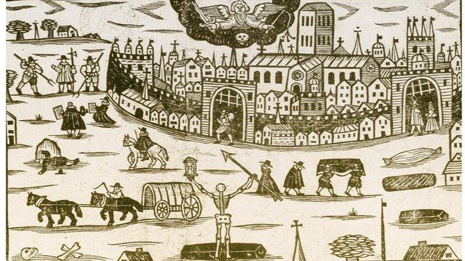 Dřevorytina Londýna zasaženého ve čtrnáctém století epidemií dýmějového moru