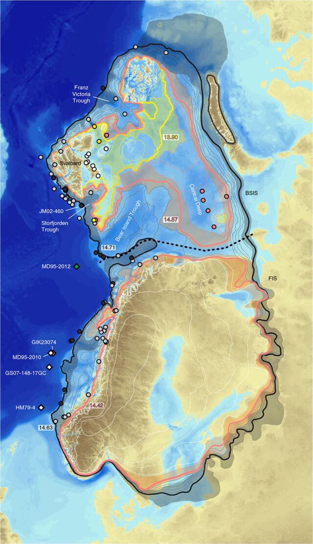 Předešlý rozsah ledovce dle jeho ustupování