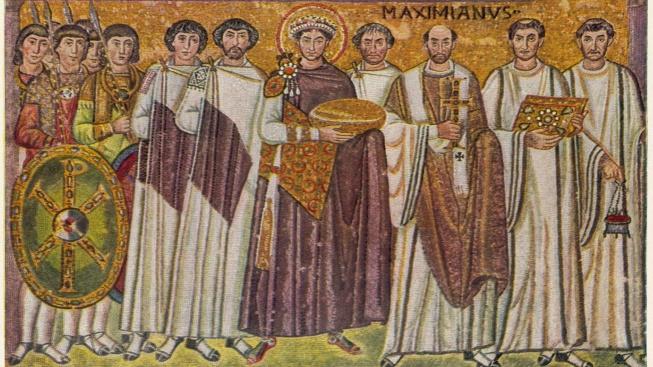 Byzantský císař Justinián na mozaice z baziliky svatého Vitala v italské Ravenně