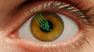 Koncepční koláž bionického oka