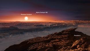 Umělecké ztvárnění planety Proxima b. Nízko nad obzorem planety svítí hvězda Proxima Centauri a výše vpravo vzdálenější nejjasnější hvězda z trojhvězdí Alfa Centauri