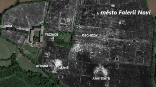 Radarový snímek ukazující základy starořímského města Falerii Novi v hloubce 175 centimetrů