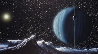 Ilustrace zobrazující planetu Neptun při pohledu z povrchu jednoho z jeho měsíců. V pozadí je Slunce a další měsíc.