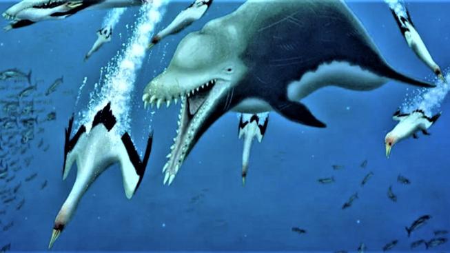 Kresba zobrazující pravěkého delfína při lovu.