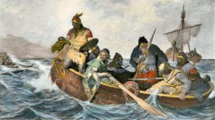 Vikingové se vyloďují na pobřeží během jedné ze svých výprav.
