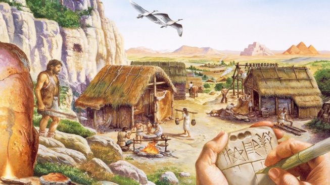 Kresba neolitického sídliště. Vpravo si místní 'úředník' zapisuje protopísmem poznámky do kamenného tabletu.