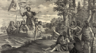 Přistání Kryštofa Kolumba na karibském ostrově San Salvador v říjnu 1492.