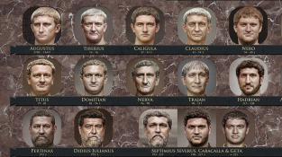 Patnáct z 54 římských císařů, jejichž portréty sestavil počítačový umělec z Toronta.